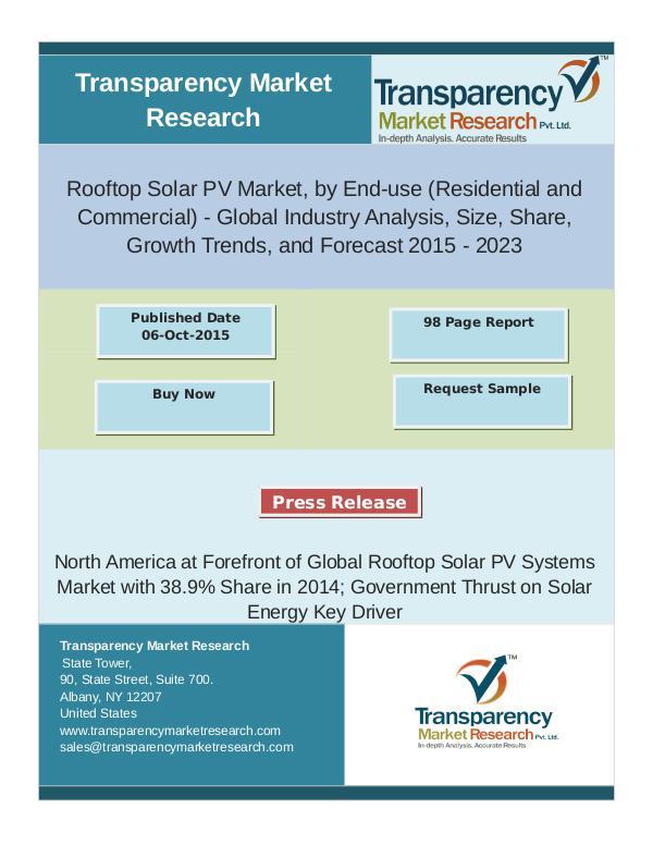 Rooftop Solar PV Market Trends 2015 - 2023 oct 2016