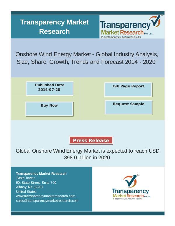 Onshore Wind Energy Market Segment Forecasts up to 2020 oct 2016