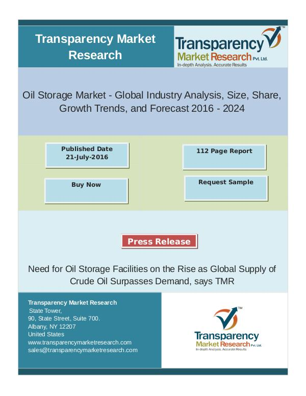 Oil Storage Market Trends 2016 - 2024 Nov 2016