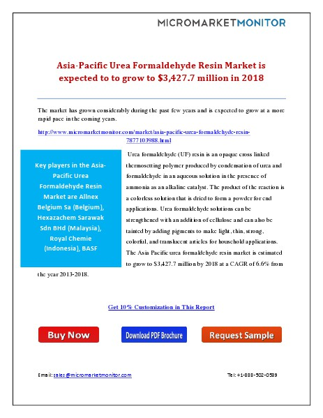 Asia-Pacific Urea Formaldehyde Resin Market is Expected to to grow to Friday, January 9, 2015