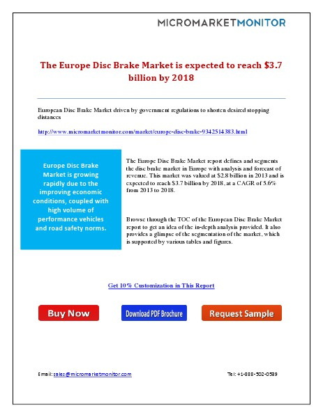 The Europe Disc Brake Market is expected to reach $3.7 billion by 201 7th April 15
