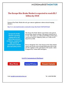 The Europe Disc Brake Market is expected to reach $3.7 billion by 201