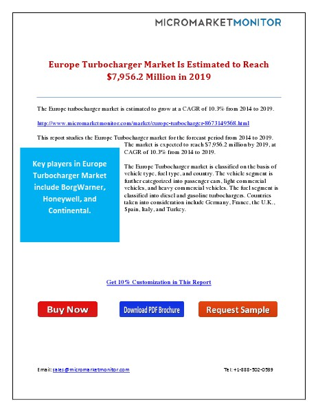 Europe Turbocharger Market Is Estimated to Reach $7,956.2 Million in 4th May 2015
