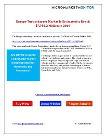 Europe Turbocharger Market Is Estimated to Reach $7,956.2 Million in