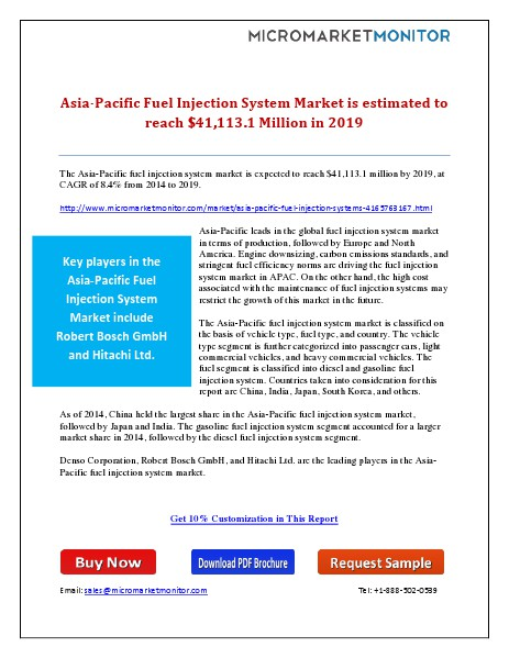 Asia-Pacific Fuel Injection System Market is Estimated to Reach $41,1 7th May 15