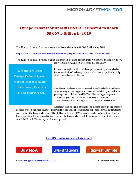 Europe Exhaust System Market is Estimated to Reach $8,069.5 Billion i 11th May 15