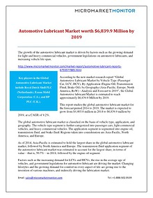 Automotive Lubricant Market worth $6,839.9 Million by 2019