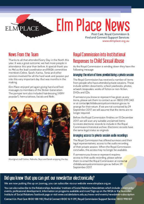 Elm Place Newsletter August 2017