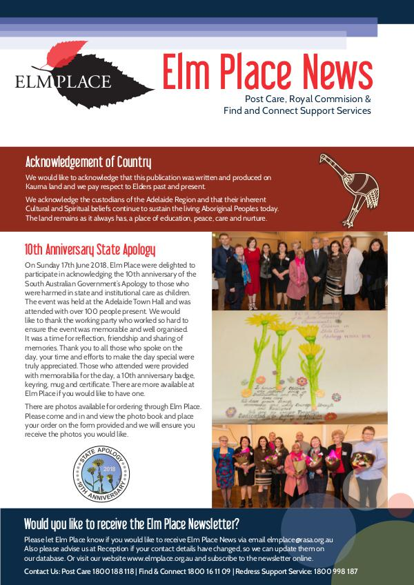 Elm Place Newsletter August 2018
