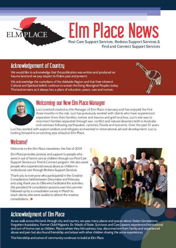 Elm Place Newsletter April 2019