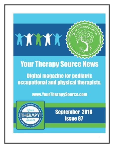 Your Therapy Source Magazine for Pediatric Therapists September 2016
