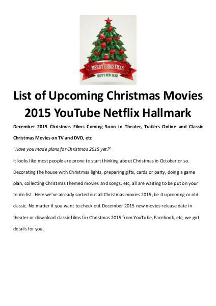 Best Christmas Movies/Songs Christmas Movies 2015 on YouTube Netflix Hallmark