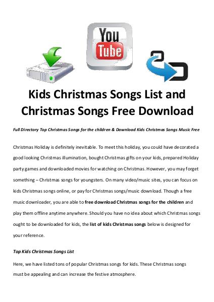 best christmas moviessongs kids christmas songs list and christmas songs free download - Classic Christmas Songs List