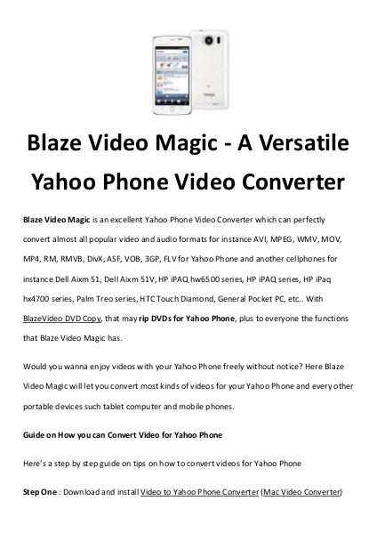 software tips how to convert yahoo phone videos