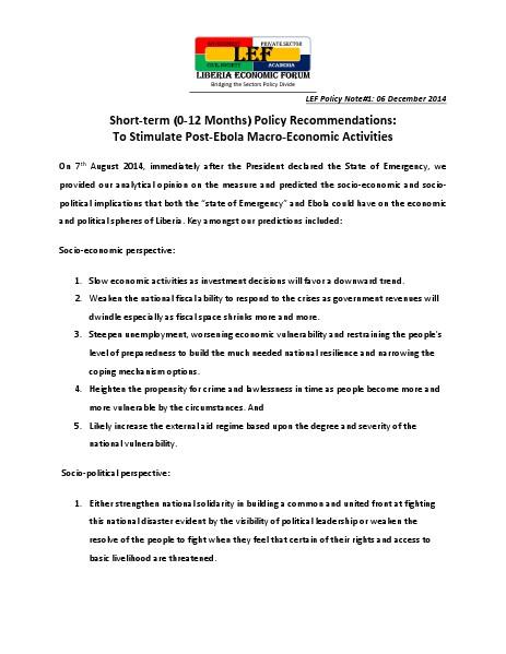 Lef-Briefing Note#1 Post Ebola Macro-Economic Policy Advisory-Liberia