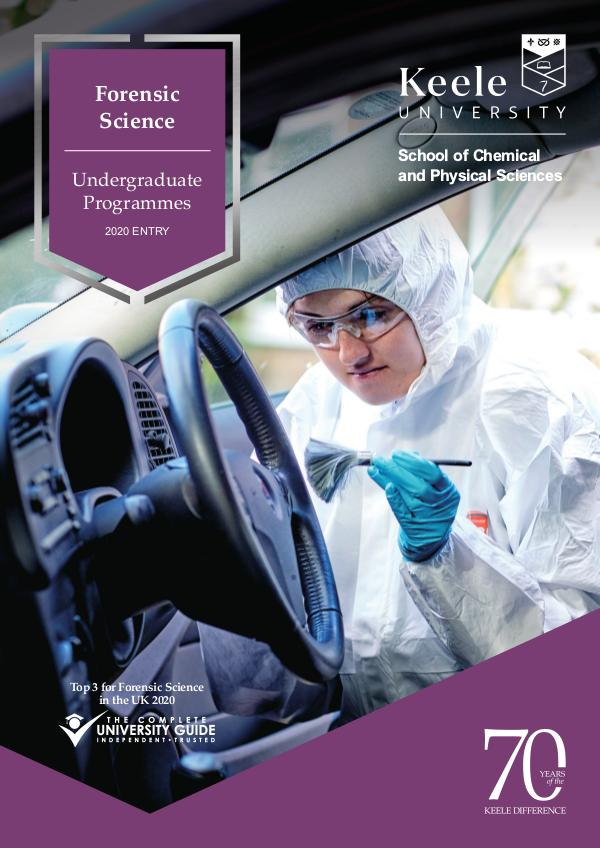 Forensic Science Undergraduate Programmes 2020 2020 entry