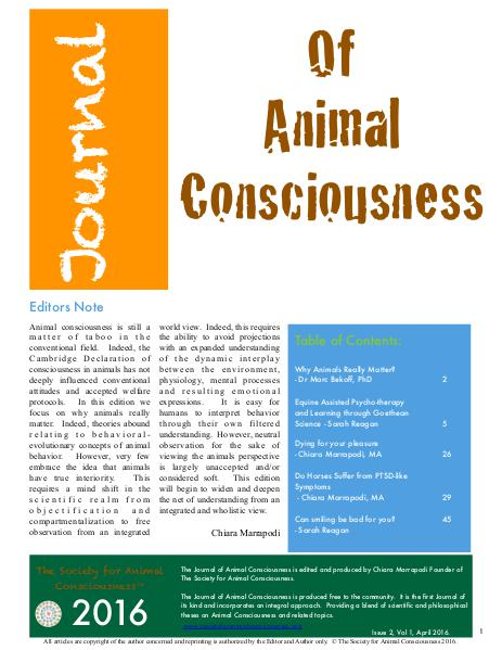 The Journal of Animal Consciousness Vol 1, Issue 2 Vol 1 Issue 2