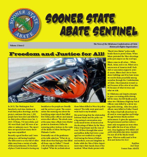 SOONER STATE ABATE SENTINEL VOLUME 2 ISSUE 2