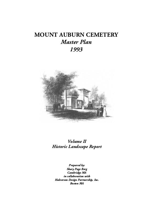 Mount Auburn Cemetery Master Plans Master Plan Volume Two