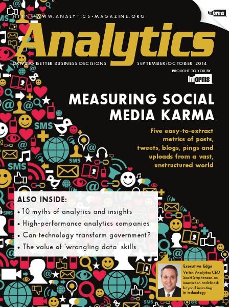 Analytics Magazine, September/October 2014