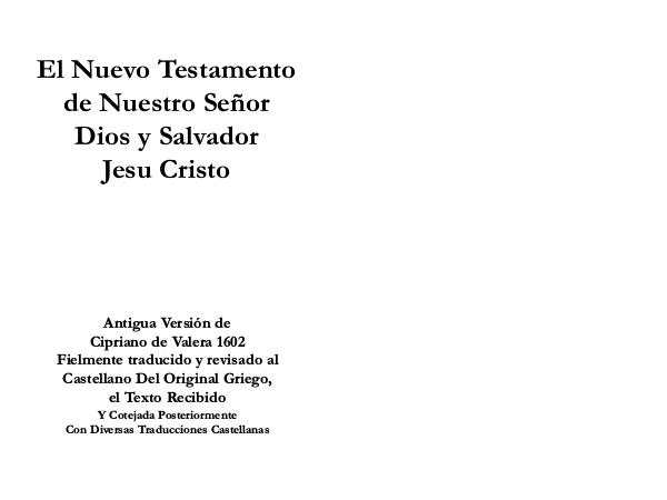 NUEVO TESTAMENTO / REINA VALERA 1602