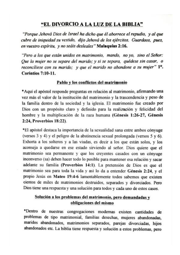 Universo Bíblico Magazin EL DIVORCIO A LA LUZ DE LA BIBLIA, HUGO ALBORNOZ
