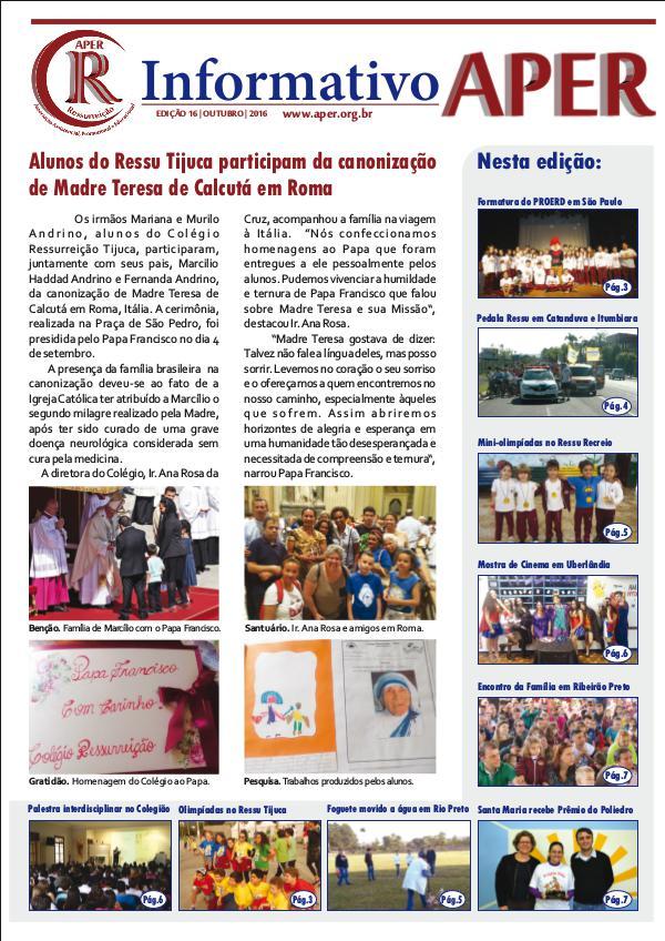 Informativo Aper - Edição: Nº 16 – 10/2016 Edição: Nº 16 – 10/2016