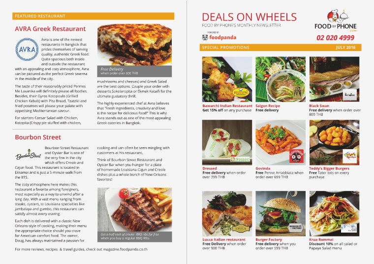 FOOD BY PHONE DEALS ON WHEELS JULY