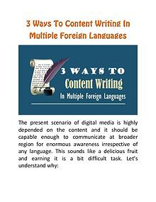 3 Ways to Content Writing In Multiple Foreign Languages