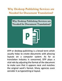 Why Desktop Publishing Services are Needed for Document Translation?