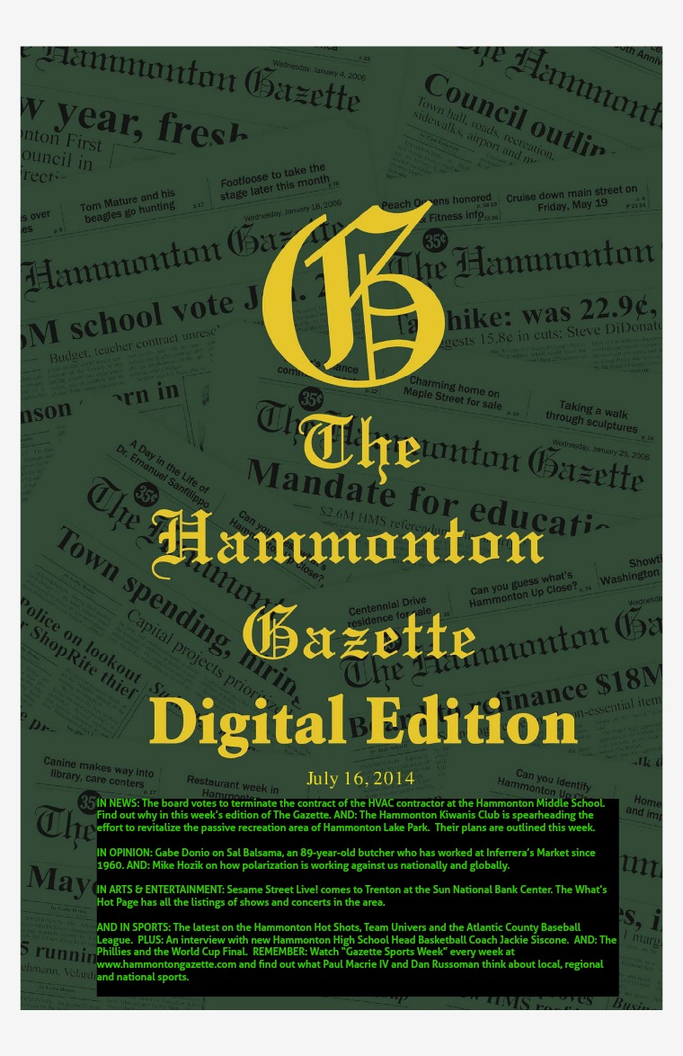 The Hammonton Gazette 071614 Edition