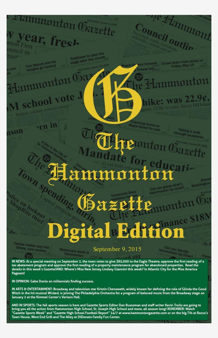The Hammonton Gazette 09/09/15 Edition