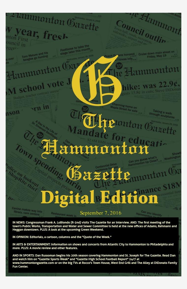 The Hammonton Gazette 09/07/16 Edition