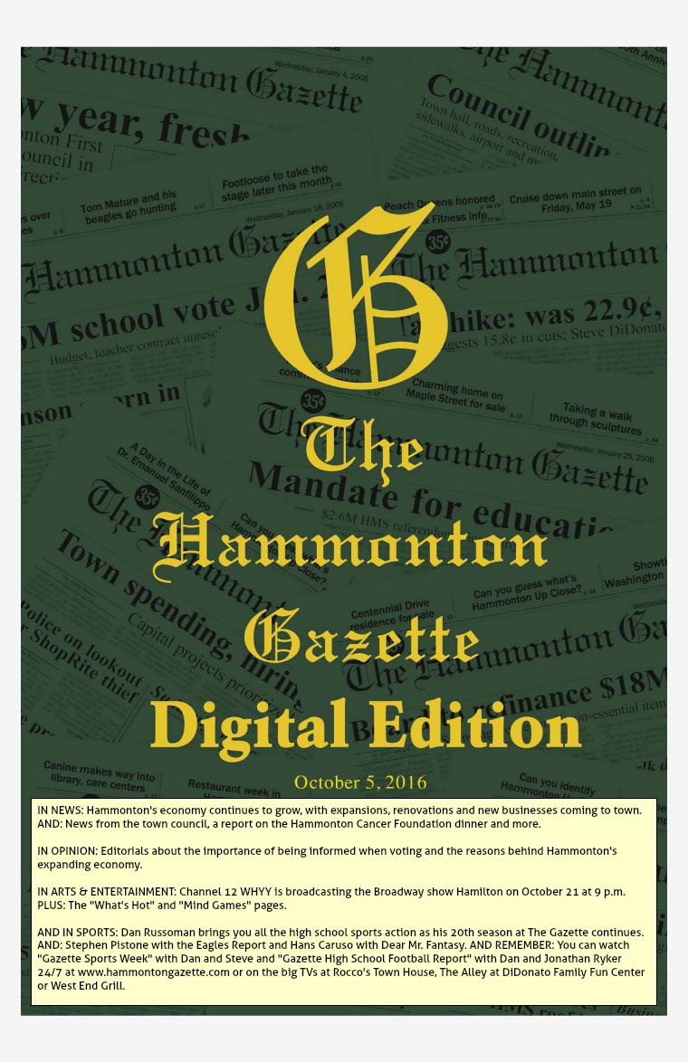 The Hammonton Gazette 10/05/16 Edition