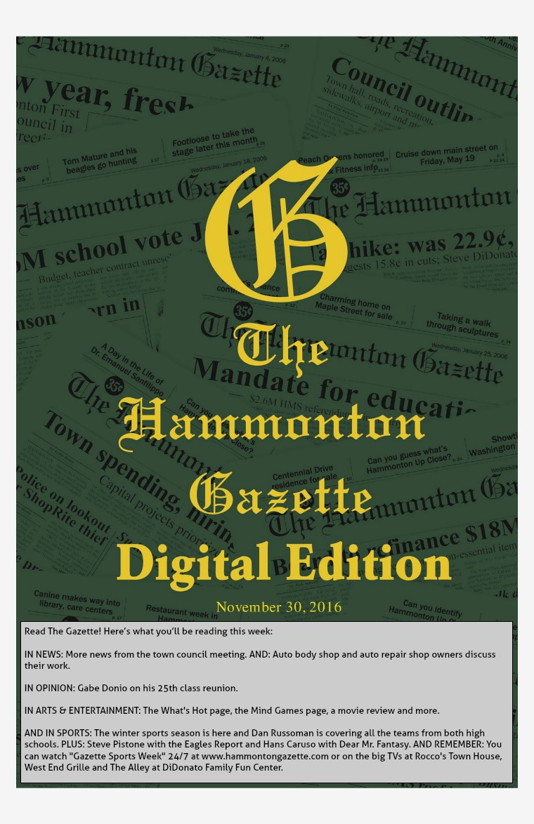 The Hammonton Gazette 11/30/16 Edition