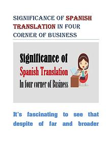 Significance of Spanish Translation In four corner of Business