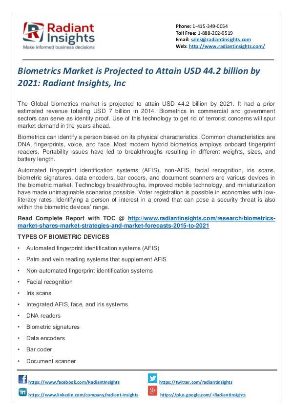 Biometrics Market is Projected to Attain USD 44.2 Billion by 2021 Biometrics Market 2021