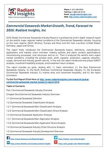Commercial Seaweeds Market Growth, Trend, Forecast to 2016
