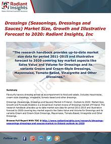 Dressings (Seasonings, Dressings and Sauces) Market Size, Growth 2020