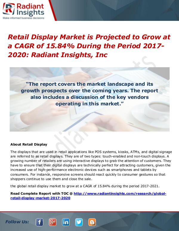 Retail Display Market is Projected to Grow at a CAGR of 15.84% During Retail Display Market 2017-2020