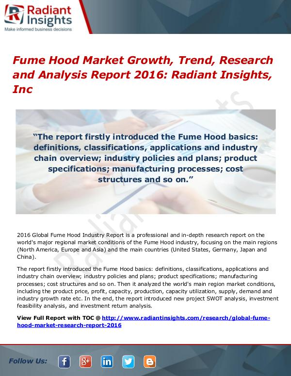 Fume Hood Market Growth, Trend, Research and Analysis Report 2016 Fume Hood Market 2016