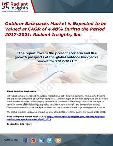 Outdoor Backpacks Market is Expected to Be Valued at CAGR of 4.48%