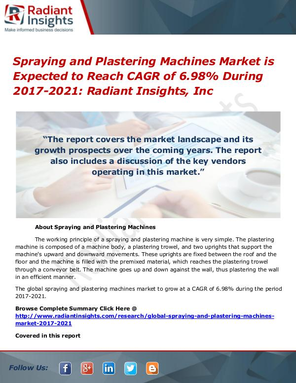 Spraying and Plastering Machines Market Spraying and Plastering Machines Market 2017-2021