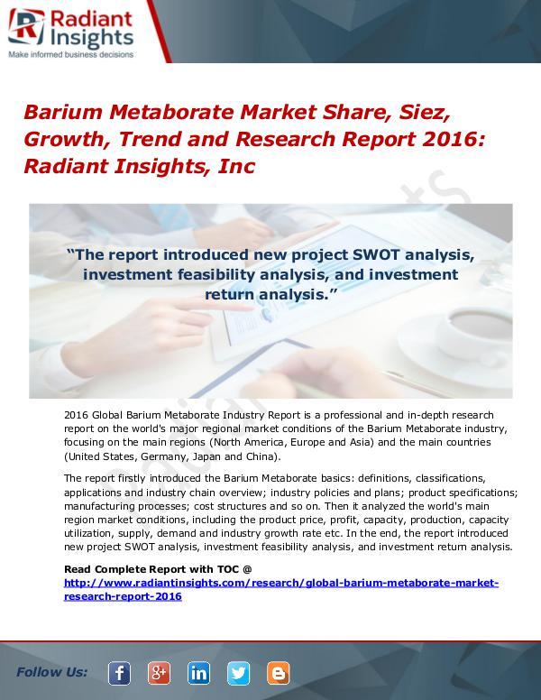 Barium Metaborate Market Share, Siez, Growth, Trend 2016 Barium Metaborate Market 2016