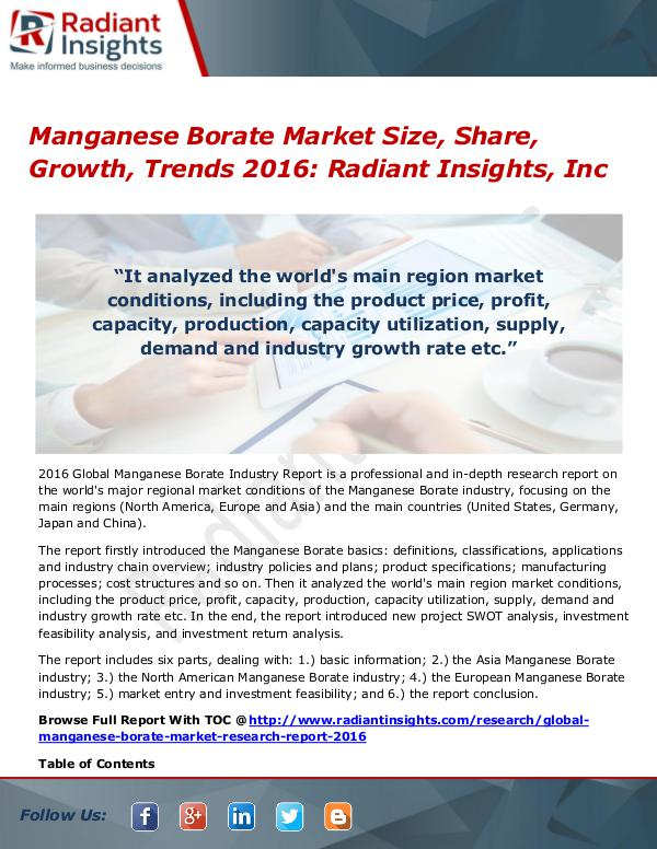 Manganese Borate Market Size, Share, Growth, Trends 2016 Manganese Borate Market 2016