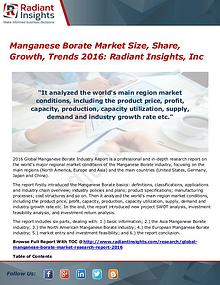 Manganese Borate Market Size, Share, Growth, Trends 2016
