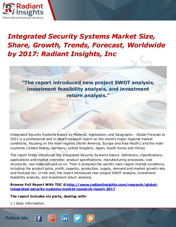 Integrated Security Systems Market Size, Share, Growth, Trends 2017 Integrated Security Systems Market 2017
