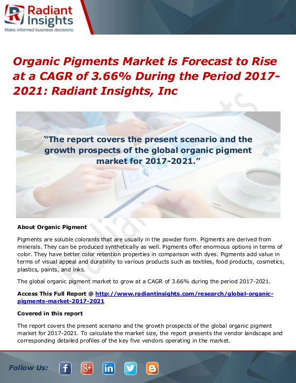 Organic Pigments Market is Forecast to Rise at a CAGR of 3.66% Organic Pigments Market 2017-2021