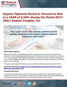 Organic Pigments Market is Forecast to Rise at a CAGR of 3.66%