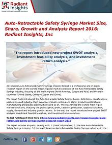 Auto-Retractable Safety Syringe Market Size, Share, Growth 2016